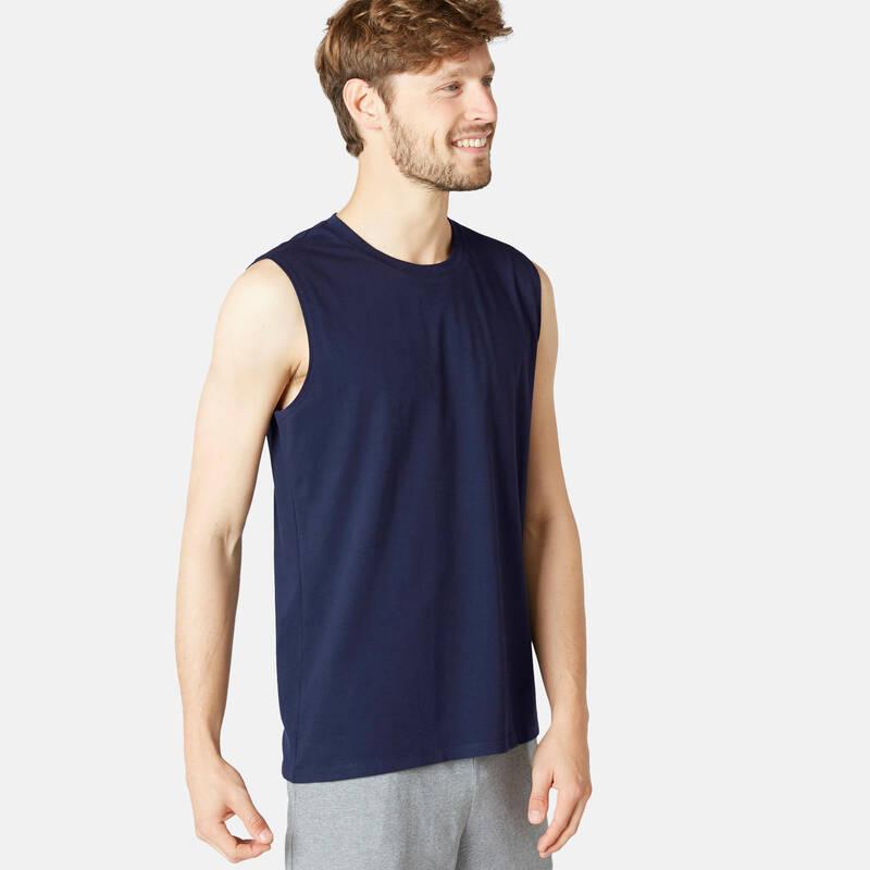 PÁNSKÁ TRIČKA, KRAŤASY Jóga - PÁNSKÉ TÍLKO 500 MODRÉ NYAMBA - Oblečení na jógu