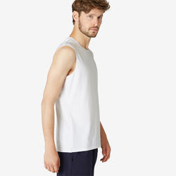 Mouwloos shirt voor pilates en lichte gym heren 500 rekbaar katoen regular wit
