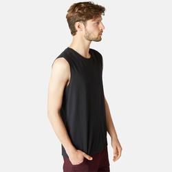 Mouwloos shirt voor pilates en lichte gym heren 500 rekbaar katoen regular zwart