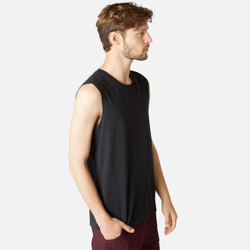 MAN GYM, PILATES APPAREL Activewear - Men's Gym Tank Top 500 - Black NYAMBA - Men
