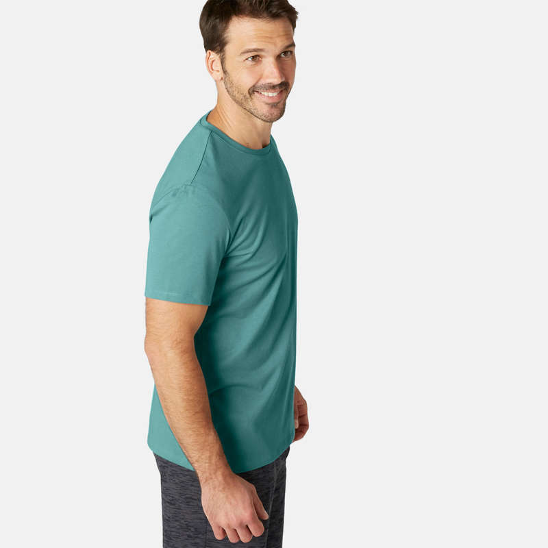 МУЖСКИЕ ФУТБОЛКИ ‒ ШОРТЫ Летняя одежда и обувь - Футболка 500 муж. зеленая NYAMBA - Летняя одежда и обувь