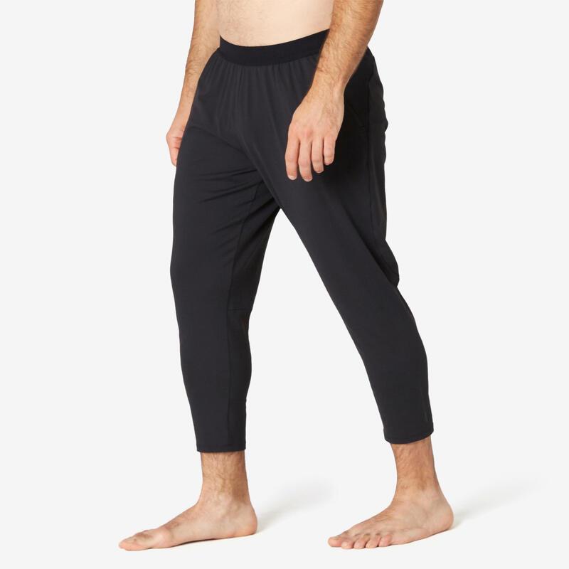 Pantaloni 7/8 skinny uomo fitness 900 neri