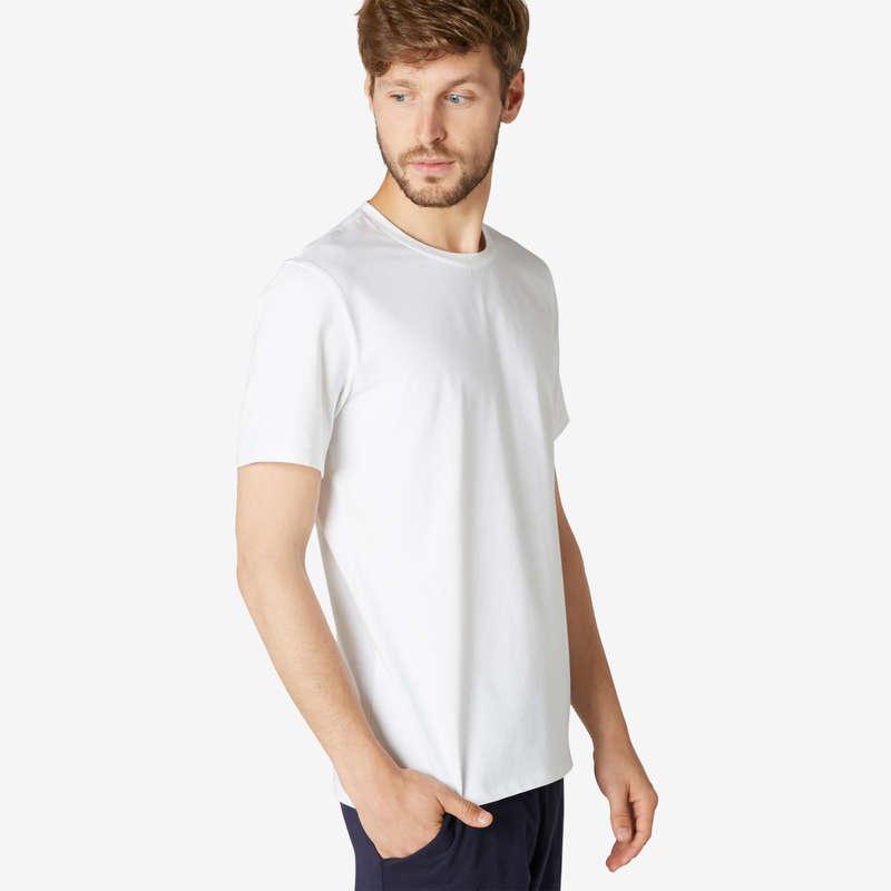 ÎMBRĂCĂMINTE TONIFIERE, PILATES BĂRBAȚI Produse mărimi mari Bărbați - Tricou regular 500 alb bărbați NYAMBA - BARBATI