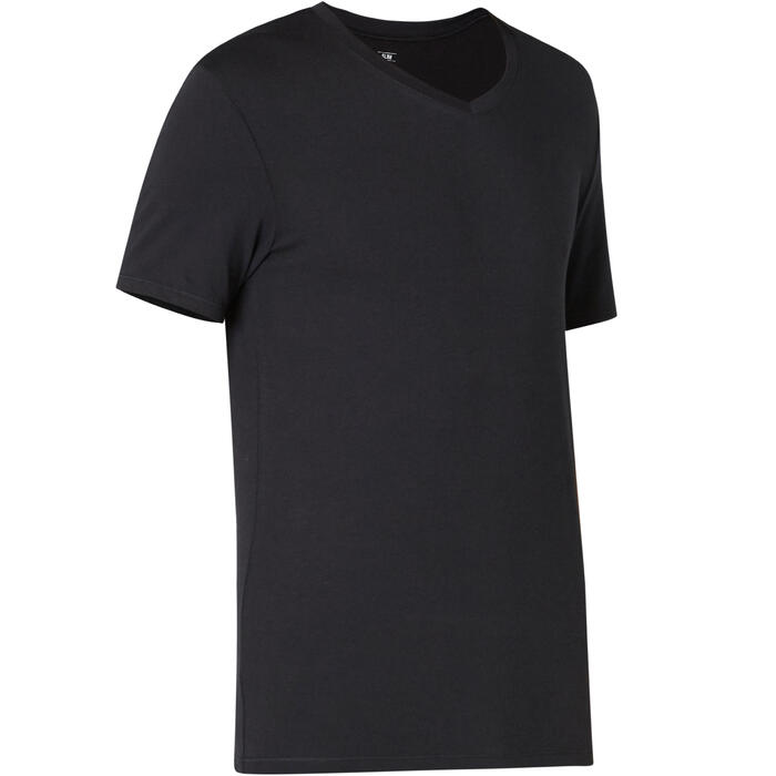 Men's Slim-Fit V-Neck Pilates & Gentle Gym Sport T-Shirt 500 - Black
