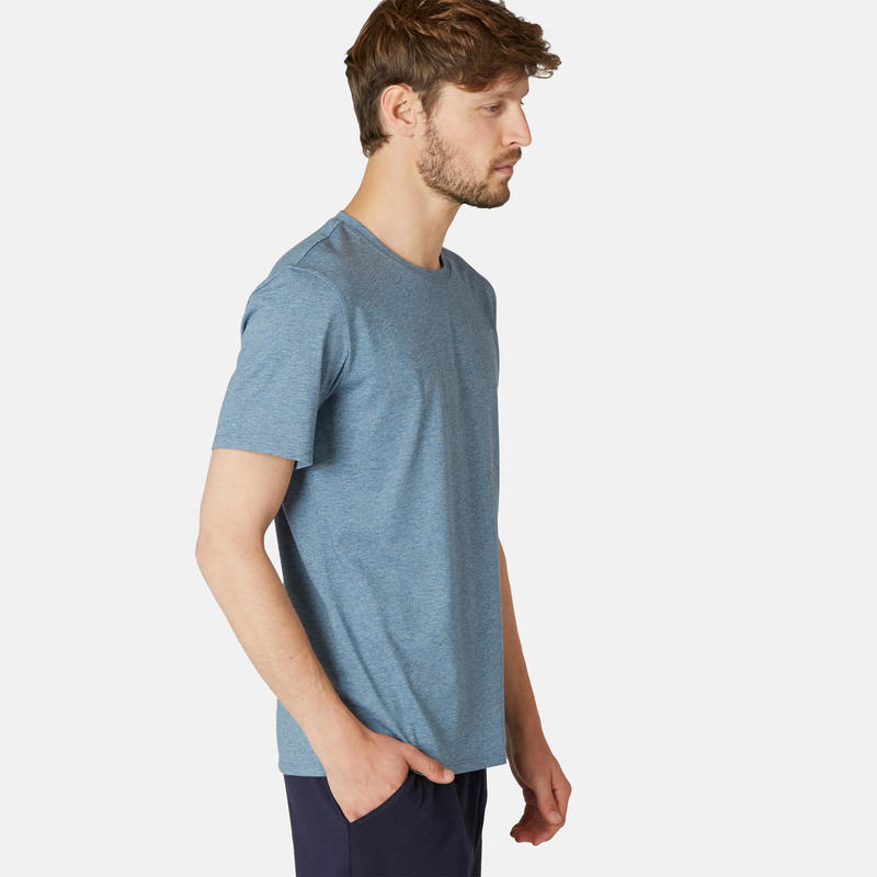 T-Shirt Coton Extensible Fitness Bleu Chiné