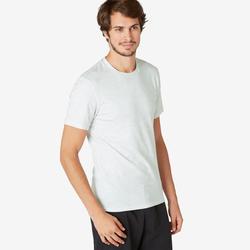 T-Shirt Sport Pilates Gym Douce homme 500 Slim Blanc Printé