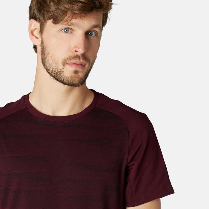 Gym T-shirt voor heren 520 bordeaux met motief