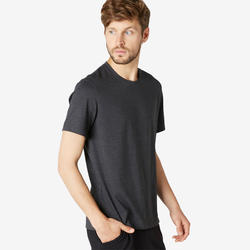 Heren-T-shirt voor pilates en lichte gym 500 donkergrijs met motief