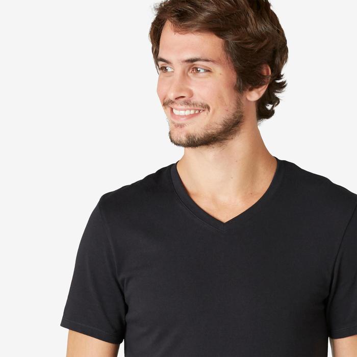 T-Shirt Sport Pilates Gym Douce homme 500 Slim Col V Noir