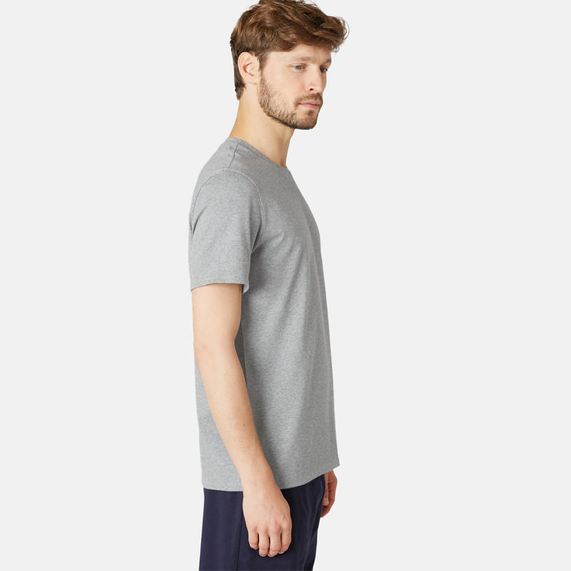 T-shirt voor pilates en lichte gym heren 500 rekbaar katoen regular lichtgrijs