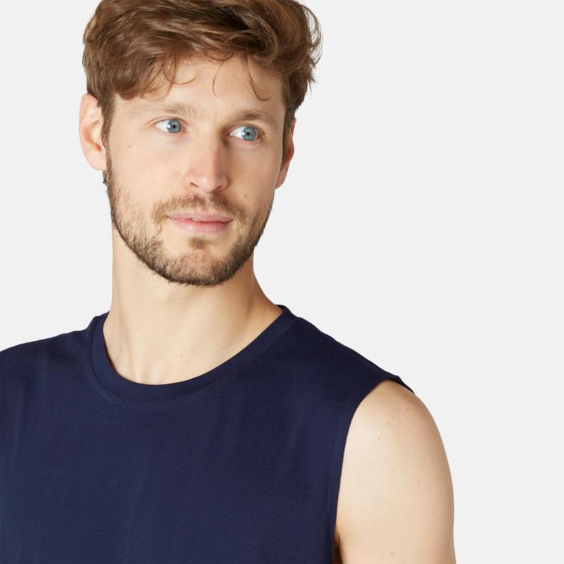 Men's Regular-Fit Pilates & Gentle Gym Sport Tank Top 500 - Dark Blue