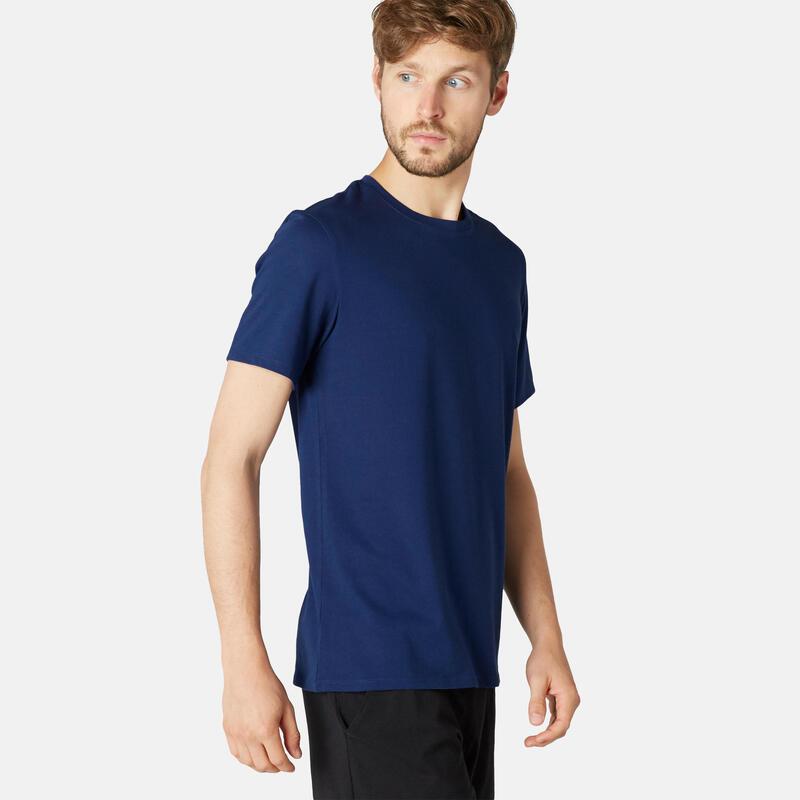 Stretch T-shirt voor fitness katoen donkerblauw