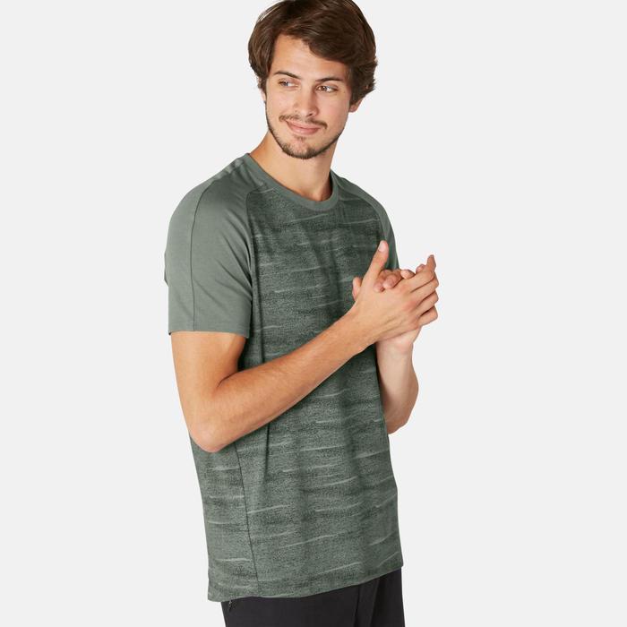 T-shirt voor pilates en lichte gym heren 520 regular fit kaki/print