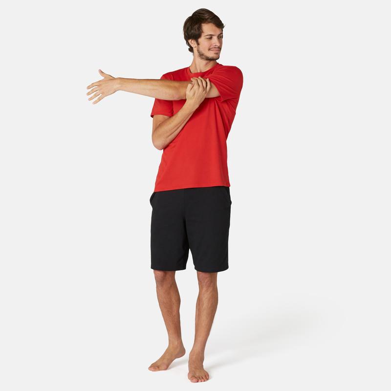Polera Sport Pilates y Gimnasia suave hombre 500 Regular rojo