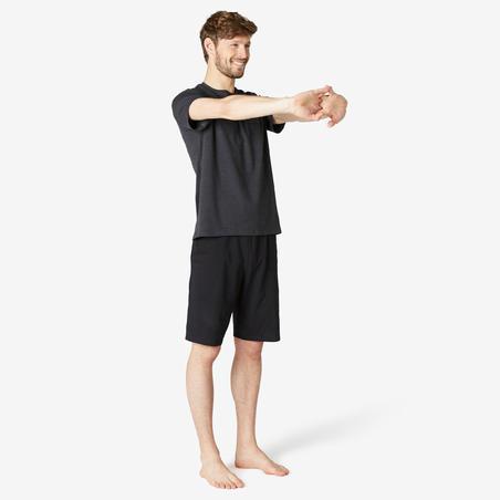 Playera Sport Pilates y Gimnasia suave hombre 500 Regular Gris Oscuro estampado