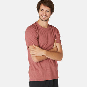 Men's Gym T-Shirt Slim Fit 500 - Burgundy