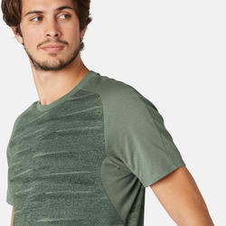 T-shirt 520 voor heren kaki met motief