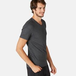 T-shirt voor pilates en lichte gym heren 500 slim fit V-hals grijs