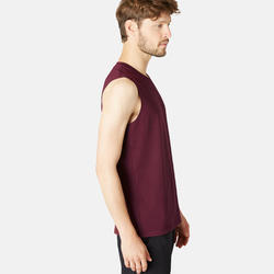 Mouwloos shirt voor gym en pilates heren 500 regular fit bordeaux