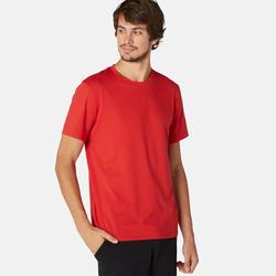 T-shirt voor pilates en lichte gym heren 500 regular fit rood