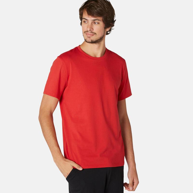 T-shirt regular uomo ginnastica 500 rossa