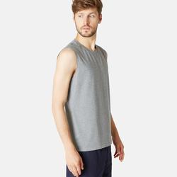 Stretch shirt voor fitness mouwloos katoen gemêleerd grijs