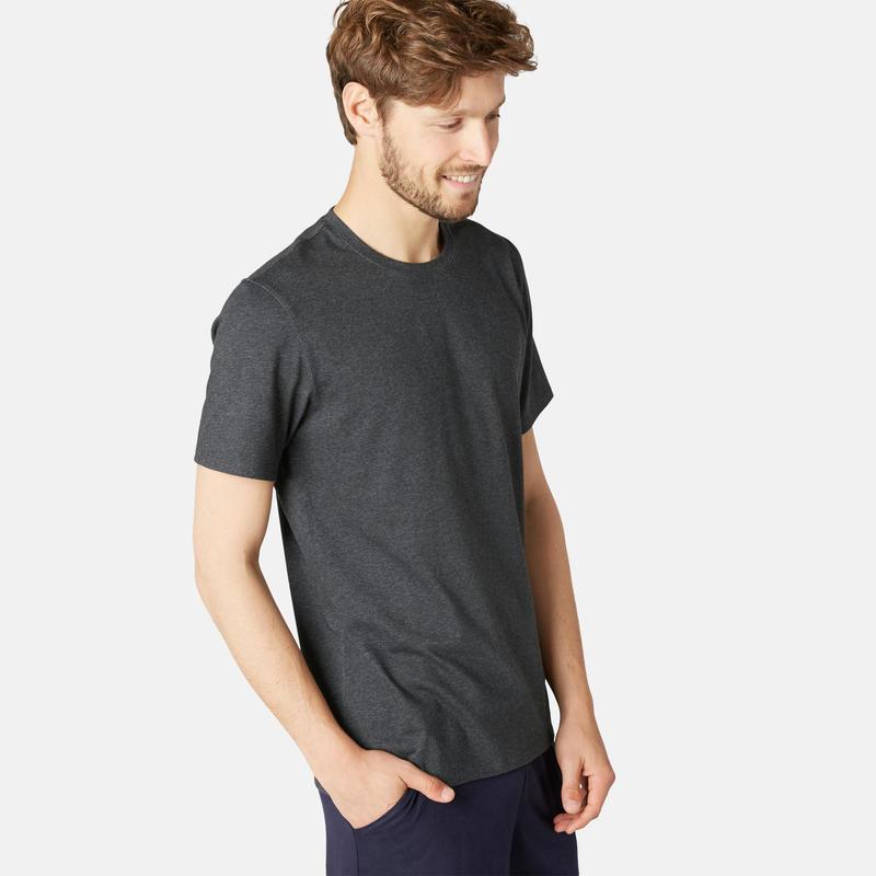 Stretch T-shirt voor fitness katoen gemêleerd donkergrijs