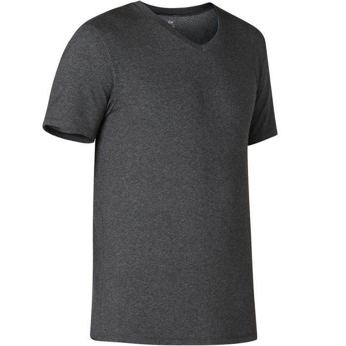 T-Shirt Sport Pilates Gym Douce homme 500 Slim Col V Gris