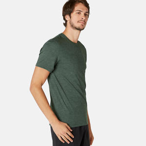 Men's Gym T-Shirt Slim Fit 500 - Khaki Print