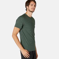 T-Shirt Sport Pilates Gym Douce homme 500 Slim Kaki Printé