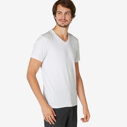 T-shirt voor pilates en lichte gym heren 500 slim fit V-hals wit