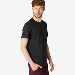 T-shirt voor pilates en lichte gym heren 500 rekbaar katoen regular zwart