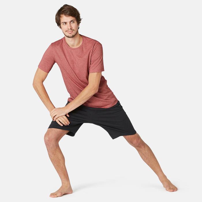T-shirt voor pilates en lichte gym heren 500 slim fit bordeaux