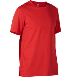 T-shirt voor pilates en lichte gym heren 500 rekbaar katoen regular rood