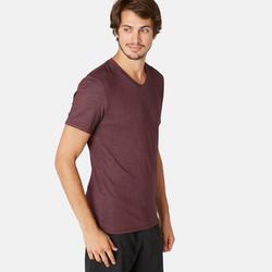 T-shirt voor pilates en lichte gym heren 500 slim fit V-hals bordeaux