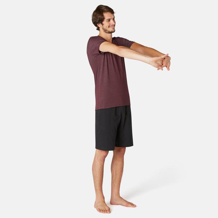 T-Shirt Sport Pilates Gym Douce homme 500 Slim Col V Bordeaux
