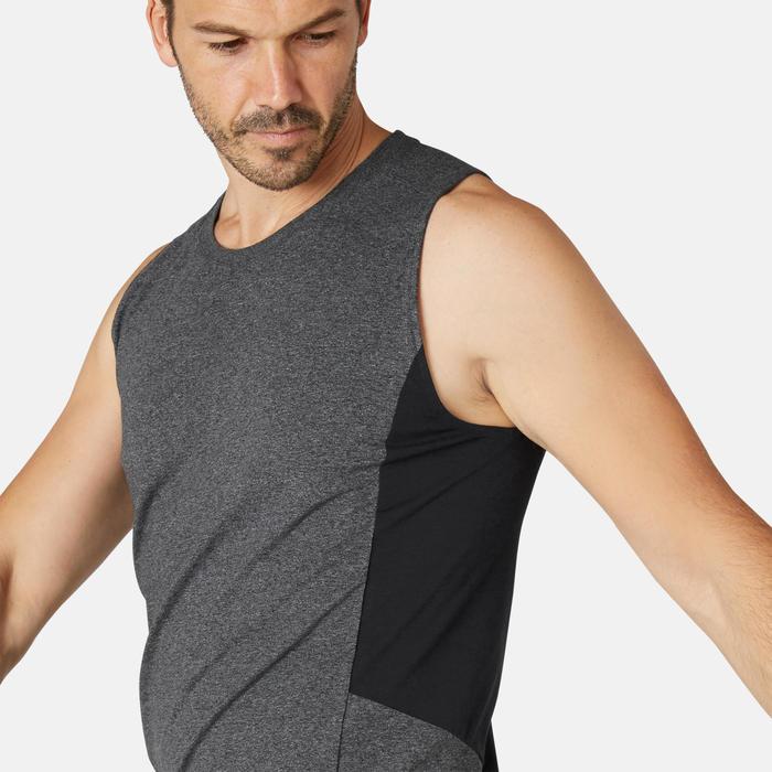 男款修身剪裁皮拉提斯與溫和健身運動背心900 - 深灰色