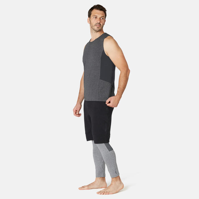Men's Slim-Fit Pilates & Gentle Gym Sport Tank Top 900 - Dark Grey