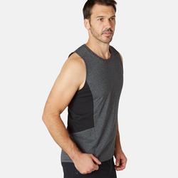 Mouwloos shirt voor pilates en lichte gym heren 900 slim fit donkergrijs