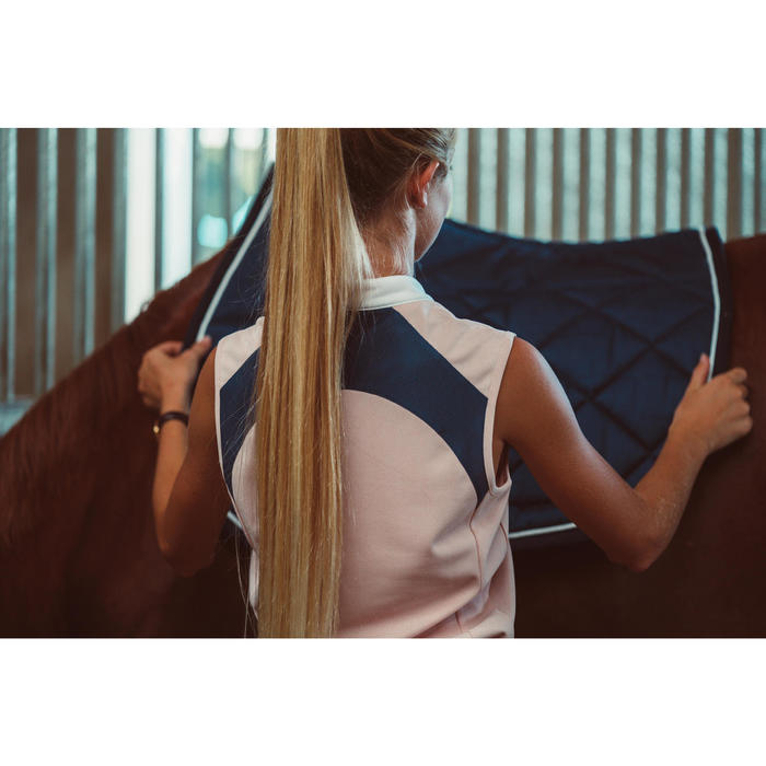 Débardeur équitation femme 500 MESH rose clair et bleu turquin