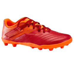 Chaussure de football enfant terrain sec AGILITY 140 FG Scratch Bordeaux Orange