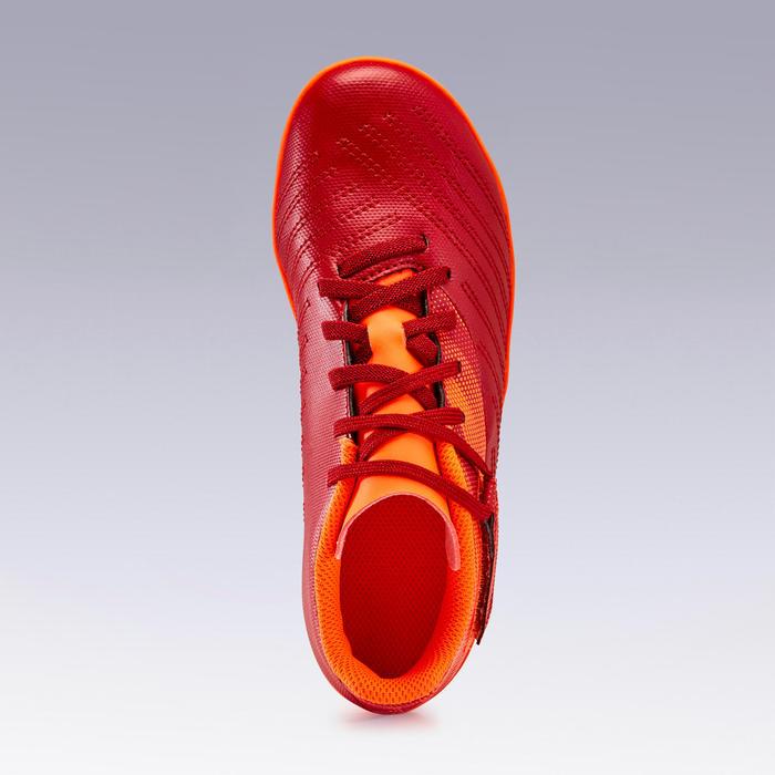 Voetbalschoenen kind Agility 140 FG klittenband bordeaux/oranje