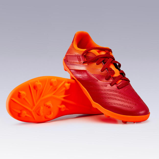 Kids' Football Boots Agility 140 FG Rip-Tab - Burgundy/Orange