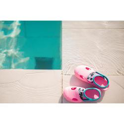 女童款泳池拖鞋100-熊貓粉紅色