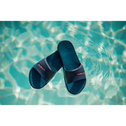 Badslippers voor kinderen voor zwembad Slap 500 Tex marineblauw