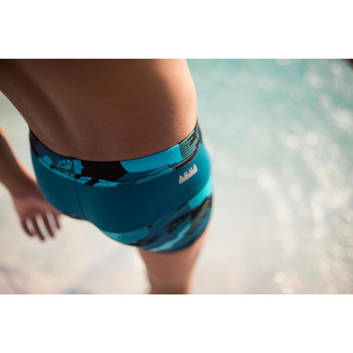 Zwemboxer voor jongens 100 Pool camouflage blauw