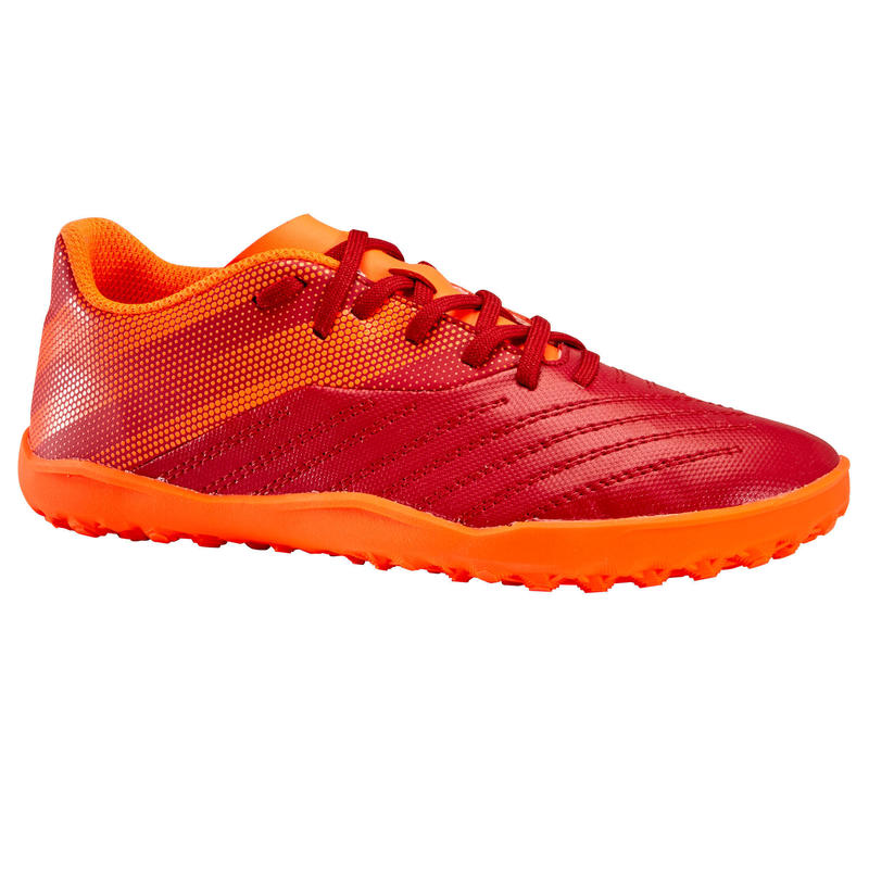 Scarpe calcetto bambino AGILITY140 HG bordeaux-arancione