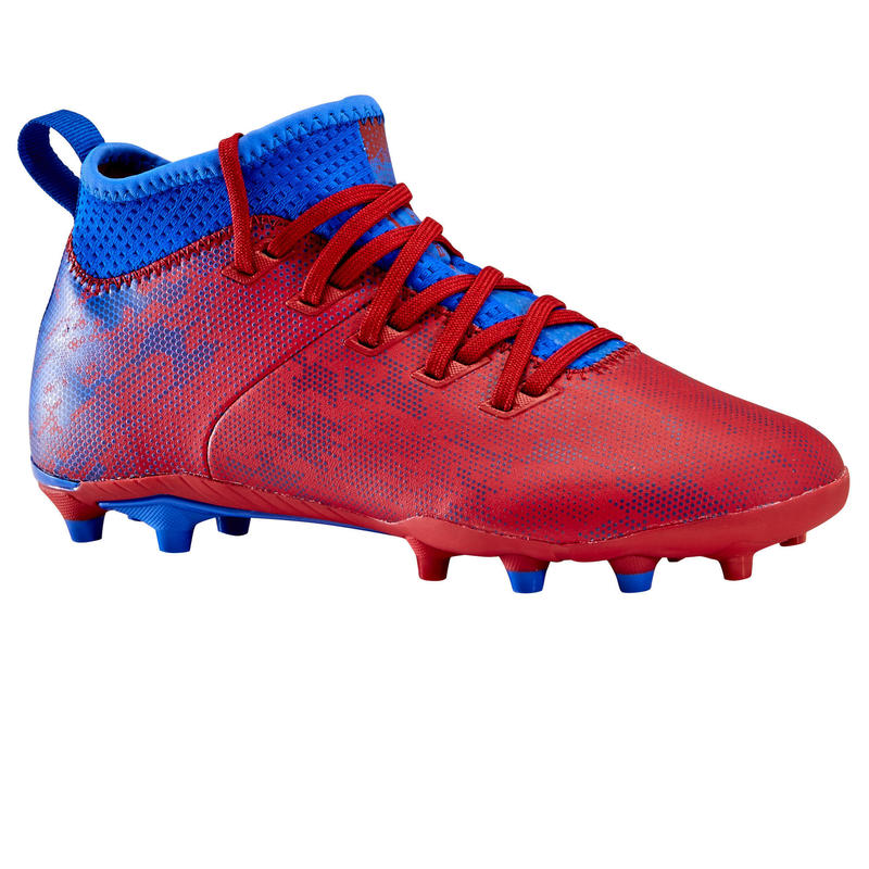 Chaussure de football enfant terrains secs Agility 900 FG JR Bordeaux et bleue
