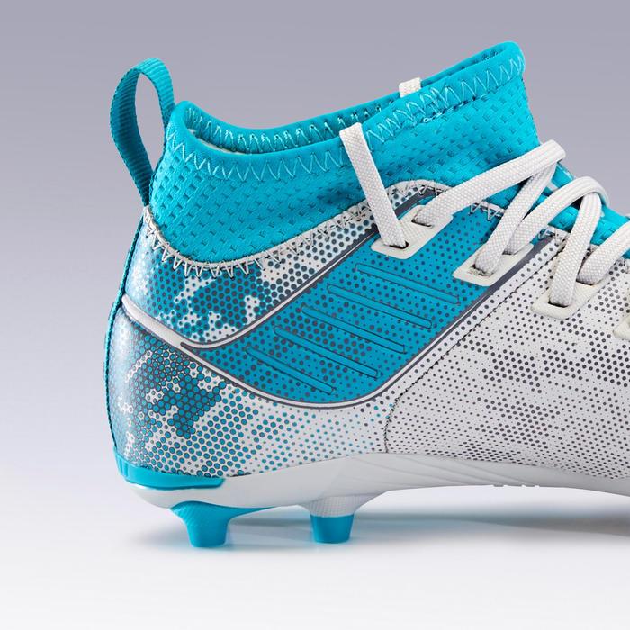 Chaussure de football enfant terrains secs Agility 900 FG grise et turquoise