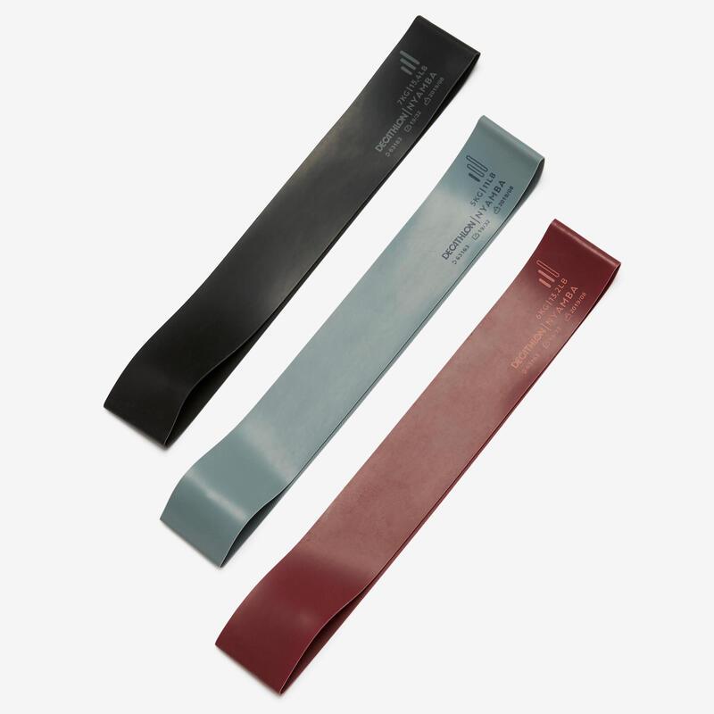 Fitness 5-6-7 kg Short Elastic Rubber Bands Tri-Pack - Turquoise/Burgundy/Black